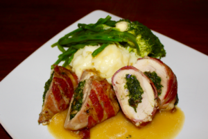Easter Recipe ideas, Stuffed Chicken Thighs with Spinach, Mushroom and Cream Cheese filling, wrapped in crispy smoked bacon