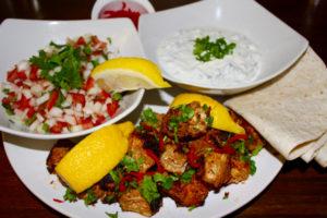 Easter Recipe ideas, Tandoor Style Chicken Tikka Wraps with Cucumber and Mint Raita and Onion and Tomato Salad, chicken tikka wraps, chicken tikka, tandoori chicken, raita