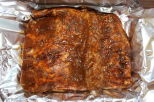 Marinated pork ribs before being cooked