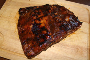 Easter Recipe ideas, Meaty Ribs after finishing on the BBQ and glazed with BBQ sauce