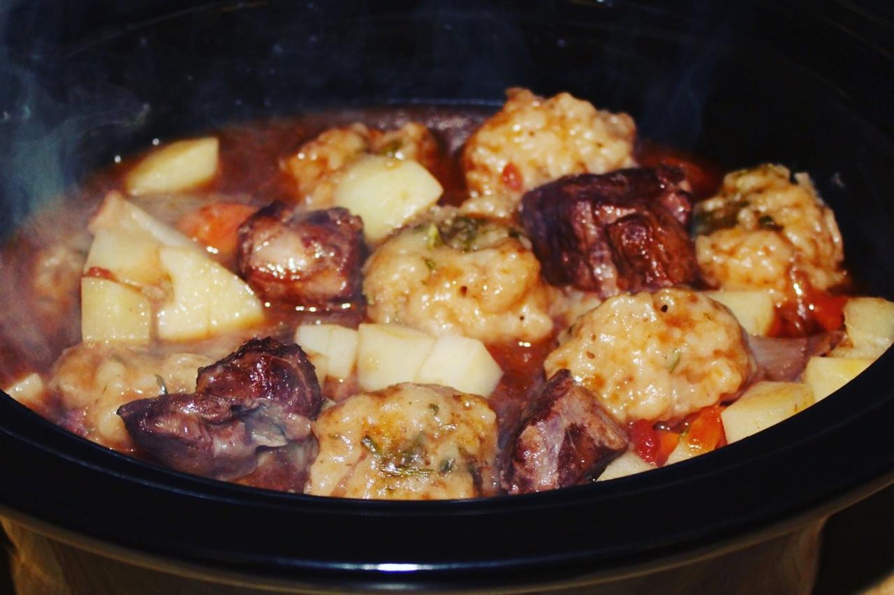 Slow Cooker Lamb Stew And Dumplings The Food Beaver