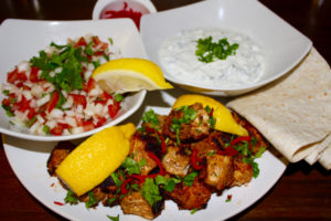 Easter recipe ideas, Chicken Tikka Wraps with Cucumber and Mint Raita and Tomato and Onion Salad