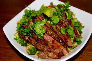 Chinese BBQ Steak with Broccoli and Coriander (Cilantro) Stir Fry