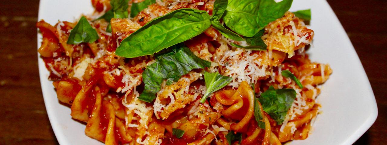 Fusilloni with Pancetta, Sundried Tomato and Caper Sauce