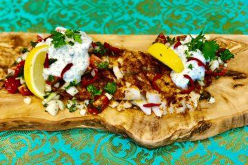 Tandoori Cod Loin with Tomato Salad and Mint Raita