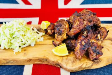 Hot and Spicy Chicken Wings with Cabbage Slaw