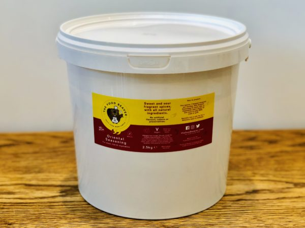 Oriental Seasoning and Marinade 2.5kg tub for meat, fish and vegetables. Made with 100% natural, vegan and allergen free ingredients. Tasty food made simple.