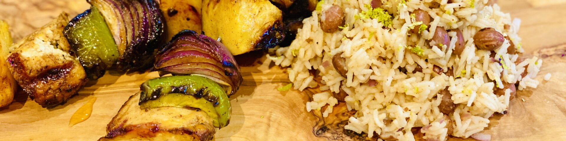 Sticky BBQ Vege Kebabs with Spicy Rice